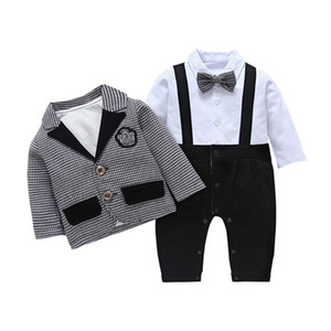 2019 Explosive Baby Jumpsuit Baby Spring Clothes New Baby Boy Gentleman Romper Butterfly Clothes Climbing Clothes