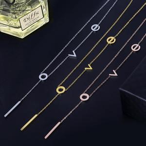 Fysara Classic Elegant Charming Love Letter Pattern Necklace For Women Titanium Steel Gold Color Women Necklace Pendant Jewelry sqcyie