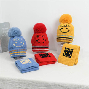 2020 new autumn winter kids hats+scarf 2pcs set cute smiling face baby hats baby scarf Hand Knitted Crochet hats Beanies kids scarves B2942