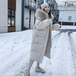 Korean Style Women Double Sided Down Long Jacket Winter Turtleneck White Duck Cotton Warm Parkas Snow Outwear