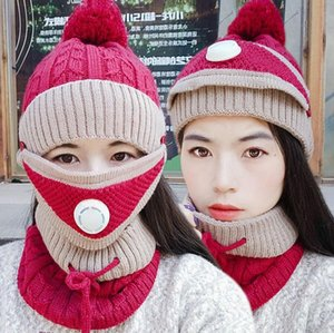 Winter Beanie Hat Scarf Mask Set 3 Pieces Fashion Cycling Knitted Hat Neck Thick Warm Scarfs Skullies Beanies Cap DDA829