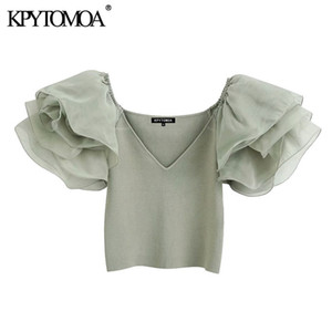 KPYTOMOA Women 2020 Fashion With Organza Knitted Cropped Blouses Vintage See Through Sleeve Stretch Slim Female Shirts Chic Tops Y1112