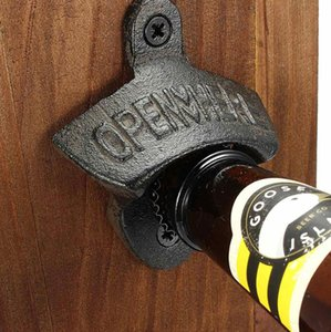 Hot Sales Chic Vintage Antique Iron Wall Mounted Bar Beer Glass Bottle Cap Opener Kitchen Tools Bottle Opener Opener Without Srew DHF3307