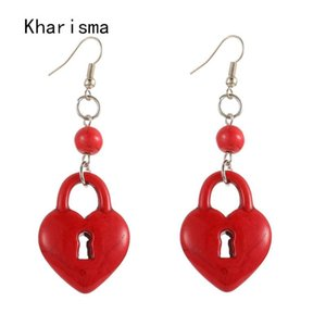 KHARISMA Ethnic Bohemian Long Drop Earrings 2020 Fashion Romantic Pom Pom Pompom Stone Lock Dangle Earrings For Women Party Gift