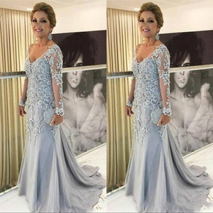 New Arrival Mermaid Plus Size Party Evening Gowns V Neck Long Sleeves Lace Appliques Tulle Beads Sweep Train Mother of The Bride Dress