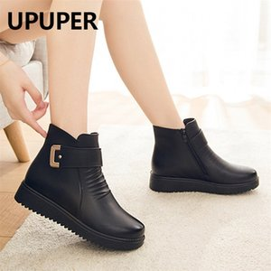 UPUPER Black Wedge Womens Winter Boots Non-slip Warm Fur Ankle Boots Women Cheap Leather Boots For Mother Winter Shoes Famale 201215