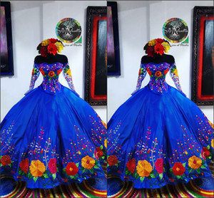 2021 Vintage Royal Blue Mexican Sweet 16 Dresses Charro Flower Embroidered Satin Off The Shoulder Quinceanera Dress Illusion Long Sleeve
