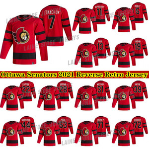Ottawa Senators Jersey 2020-21 Retro Retro 7 Brady Tkachuk 30 Matt Murray 71 Chris Tierney Hockey Jerseys