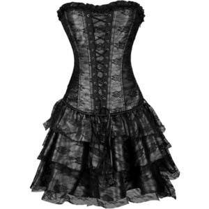 Sexy Women's Victorian Gothic Overbust Corset Sexy Steampunk Corsets and Bustiers with Skirt Top Lace Up Corsets Dress Plus Size Y1119