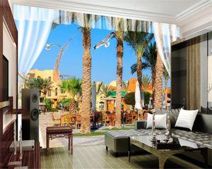 3d Mural Wallpaper 3d Seascape Wallpaper Seaside Palm Tree City Landscape HD Interior Decoration 3D Wallpaper