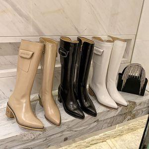 The London Primavera Winter JC Zipper Cowskin Donne Donne Martin Boot Luxurys Designer Scarpe Pocket Sheepskin Leather High Top Ginocchio Stivali da neve