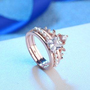 Diamond ring pearl set ring luxury silver jewelry bracelet hot pair ring fashion trend retro jiez