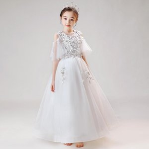 Flower Girls Dresses Beading Embroidery Princess Ball Gown O-Neck Floor-Length Tulle Lace Pearls Crystal Kids Party Dress D171