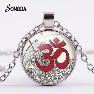 Budist Mandala Hinduizm Gümüş Kaplama Kolye Yoga Meditasyon Sembolü Cam Dome Nefis Kolye Erkekler Kadınlar Takı