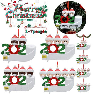24h ship, US Stock 2020 Resin PVC Quarantine Christmas Decoration Personalized Family Ornaments Pandemic Face Masks Hand Sanitized fy4265