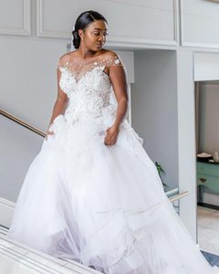 2021 Sheer Off Shoulder Wedding Dresses with Beaded Sequins Plus Size Bridal Gowns Sweep Tulle A Line Vestidos De Fiesta