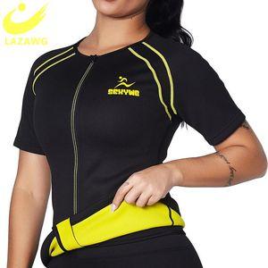 LAZAWG Women Sauna Sweat Suit Neoprene Body Shapers Vest Sport Workout Corset Heat Slimming Waist Trainer Shirt Long Sleeve Tops