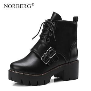 Norberg Sonbahar / Kış Kauçuk Taban Kadın Çizmeler Yuvarlak Başlık Çizmeler Kalın İngiliz Rüzgar Retro Kemer Toka Dantel-Up Ayakkabı