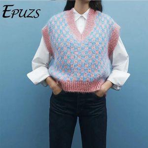 2021 Spring V-образным вырезом без рукавов вязаный свитер Элеганскую клетку толщиной теплый пуловер свитер леди повседневная свободная шикарная вершина EPUZS
