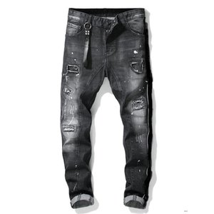 mens denim jeans black ripped pants the best version fashion broken hole Italy style biker jeans LUgDSQDSQ2DSQUARED