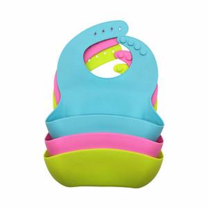 Baby Eating Bibs Silicone Waterproof Drool Feeding Aprons Adjustable Burp Cloths Large Food Catcher Pocket Saliva Bandana Wash Free