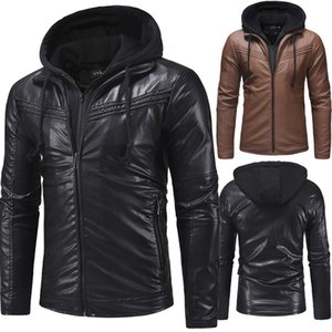 NEW Fashion Men's Hoodie Motorcycle Coats Jackets Hooded Washed leather Coat XL XXL 3XL Blouson Moto Homme