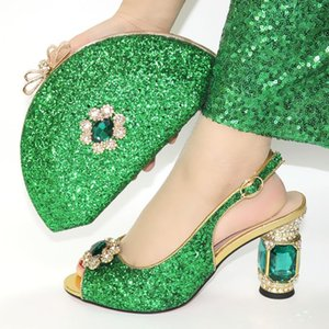 Green Color Bling Bling Party Shoes And Bag Set Nigerian Style High Heels Shoes And Purse Set For Woman Dress Size 39-43