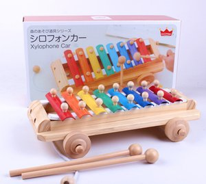 Eight tones on piano music wooden children instrument Baby quiz drag toys