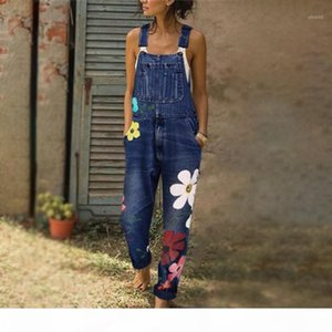 Denim Blue Women Overalls Jumpsuit Rompers Belted Printing Out Pocket Lady Overall Fashion Female Pants Jumpsuit1