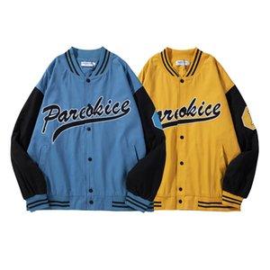 Erkek Rahat Ceket Koleji Rahat Ceketler Uzun Kollu Kontrast Renk Mont Moda Genç Okul Beyzbol Ceketler