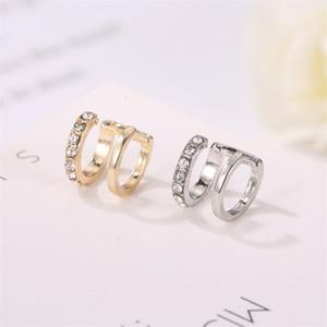 30pcs Lot Korean U Shaped Double Layer Ear Cuff Copper No Hole Diamond Ear Clip Women Fashion Gold Earrings Jewelry Accessories