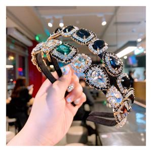 Coloridas bandas de la cabeza barroca de la gema para las mujeres Accesorios para el cabello de diamantes para el diambrenes de diamantes de imitación para las niñas para las niñas de la novia de la joyería de la boda de la boda