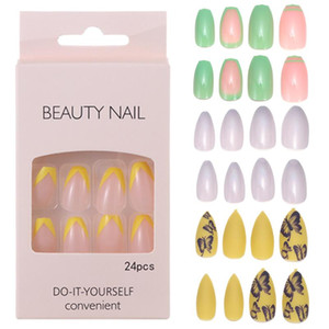 24Pcs Candy Colorful Ballerina Fake Nails Art Tips DIY Buttterfly Abstract Art UV Gel Full Cover Manicure Press on Nails Decor