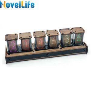 Novellife Digital Alarm Reloj de 6 bits RGB LED LED Nixie Tube Time Time Pantalla eléctrica Retro Desk Clock PIR Motion Control Elekstube LJ201210