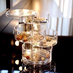 Caixas de armazenamento de jóias transparentes 4 camadas Revolving Jewelry Caixa de plástico Pequenos Acessórios Pulseira Cabeça Corda Acabamento Caixa de Armazenamento YL10