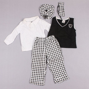 Clearance sale Lovely Gentleman Baby Suits Preppy Style Boy 5 Pieces Outfits Cell Hat+ WhiteTops+Vest+ Pants+BowTie Z127