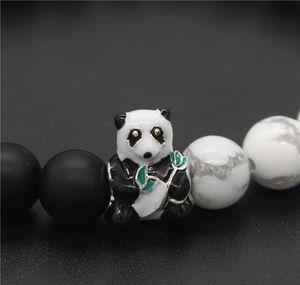 Black Lovely & Stone 8mm Jewelry Natural Animal Gift White & Bracelets Panda Bracelet Beads Bangles sqcPy whole2019