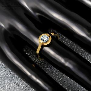 Fysara Titanium Steel Rose Gold Color Fashion Love Austrian Crystals Ring Rose Gold Ring Women Wedding Engagement Ring Couple sqcnES