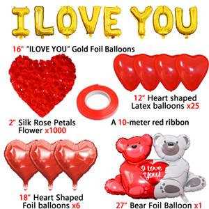 16inch ouro amor carta letra balões de coração balão pendurado presente de urso rosa para noivado decoração de casamento dia dos namorados decoração gwe4286