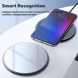 TOPK B02W 10W Wireless Charger LED Portable Universal Fast Wireless Phone Charger for Samsung S10 S9 S8 Xiaomi Mi9 FY7507