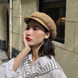여자는 베레렛 밀짚 모자 패션 여름 해변 모자 단순한 야구 모자 일요일 그늘 팔각형 베레모 선 스크린 휴일