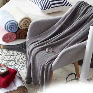 Home Textile Knitting Cotton Blanket Warm Soft Solid Blankets Towel Travel Knitted Portable Summer Air-conditioned Shawl Blanket