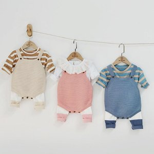 Autumn Winter Infant Baby Boys Girls Stripe Long Sleeve Top + Rompers + Panty-hose Clothing Sets Kids Boy Girl Suit Clothes 3Pcs