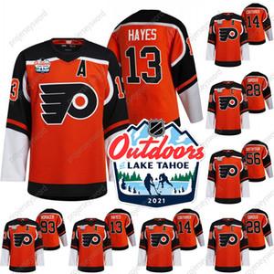 2021 Dimanche à l'extérieur Dimanche Jersey rétro Philadelphia Flyers Kevin Hayes Sean Couturier Claude Giroux Erik Gustafsson Jersey Jerseys de hockey Voracek