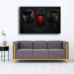 Monkey Painter Home Decor Handpainted &HD Print Oil Painting On Canvas Wall Art Canvas Pictures , F2011305