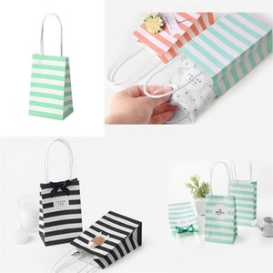 Kraft Paper Mini Borsa regalo Stripe Brow Packing Borsa Borse Candy Snacks Portatile Wrap Bags Semplice moda 0 74hb F2