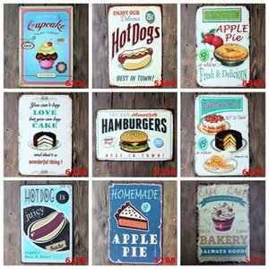 Tin Cake Hamburger Metal Poster Vintage Craft Iron Painting Home Restaurant Decoration Pub Signs Wall Decor Art Sticker OWE1039