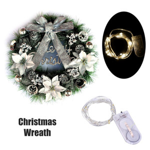 Christmas Wreath with Led String Light Garland Merry Christmas Front Door Wreath Artificial Plants Flower Wall Window Hanging Ornament