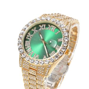 Fashion Mens Bling Watch Big Diamonds Wrist Watch Hip Hop Rappers Jewelry Gift for Friend Hot Gift