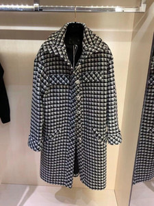 2020 밀라노 활주로 트렌치 코트 옷깃 목 롱 슬리브 브랜드 똑같은 스타일 트렌치 코트 여성 디자이너 코트 1015-18
